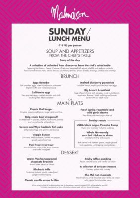 Sunday lunch brunch menu Chez Mal glasgow Foodie explorers malmaison food blog