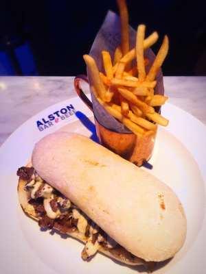 Steak sandwich chips Alston Bar and beef glasgow