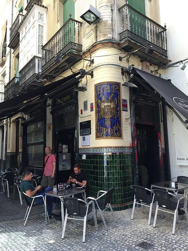 Bar Europa from outside, Seville