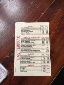 Las Teresas food menu, Seville