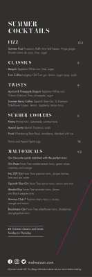 Chez Mal summer menu cocktails