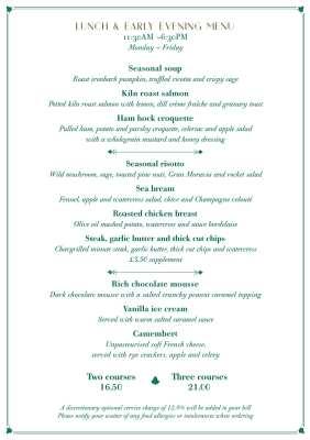 Set menu the Ivy on the Square Edinburgh