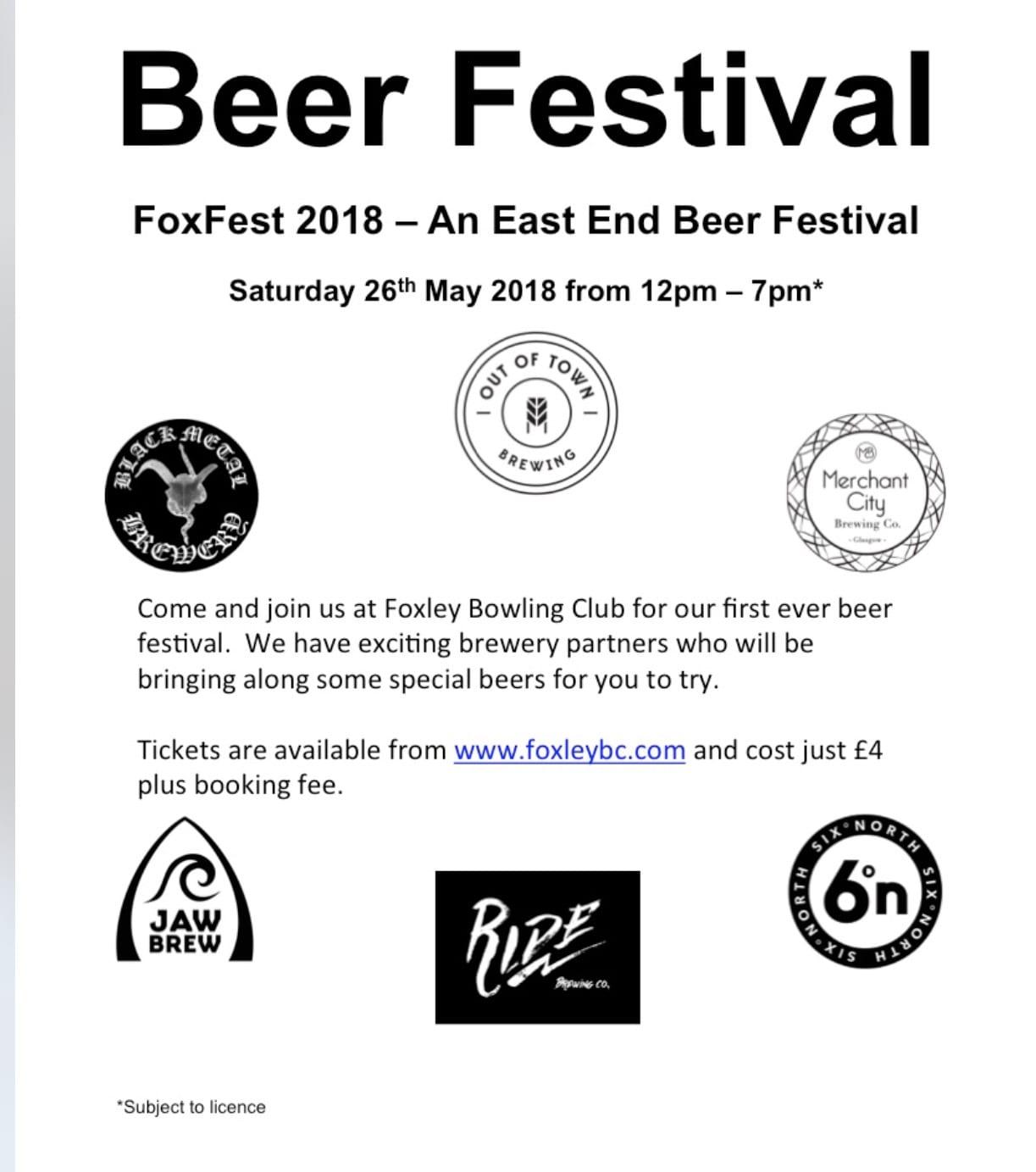 FoxFest glasgow beer festival East End