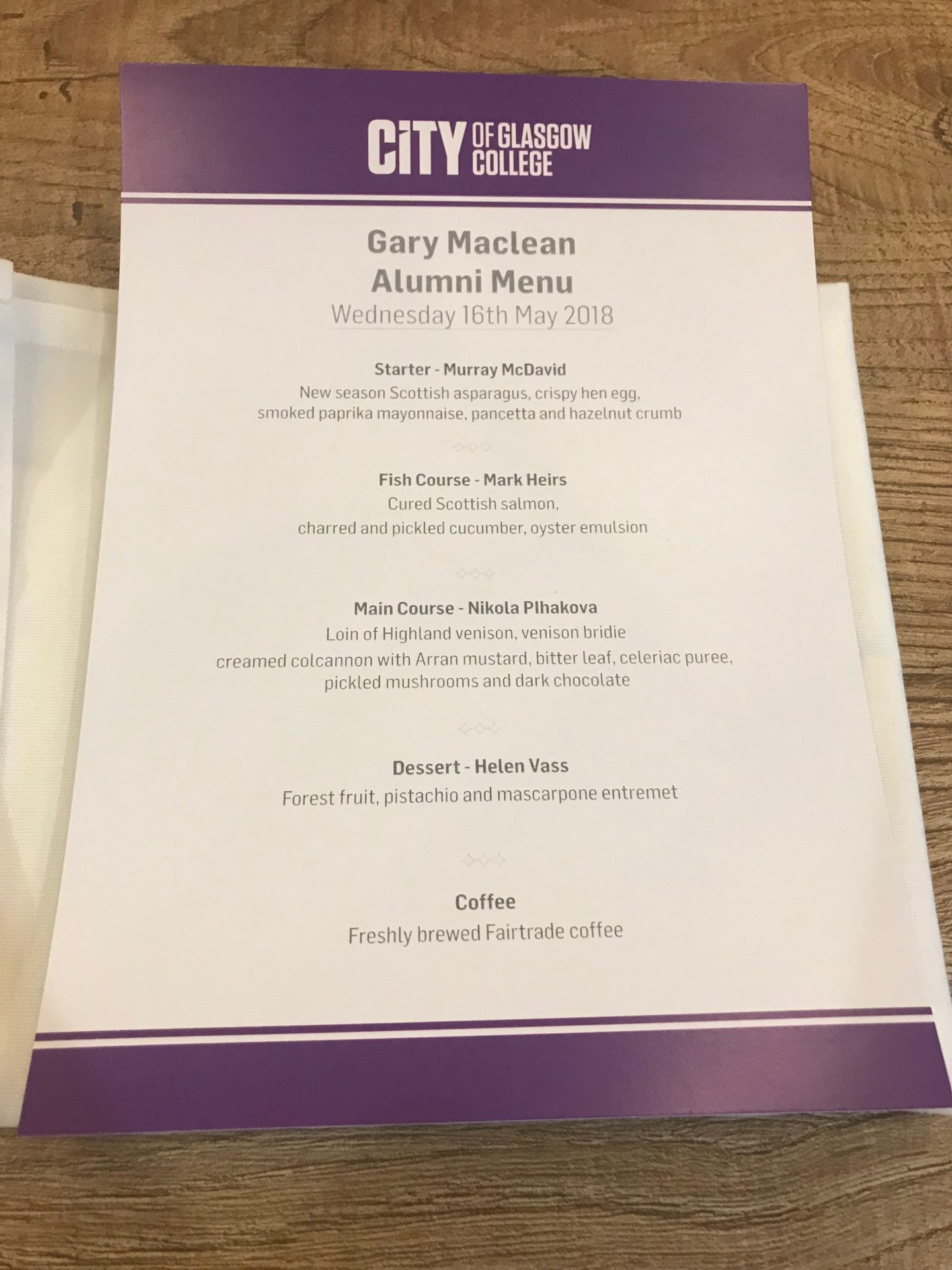 City of Glasgow college alumni dinner menu