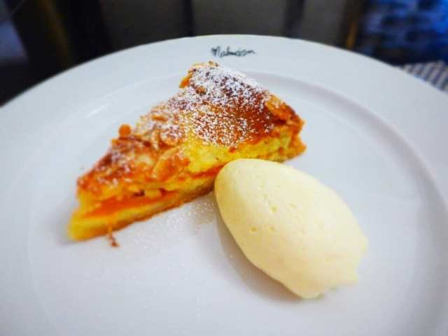 Warm Apricot and Almond Tart with Amaretto Creme. Malmaison, Glasgow