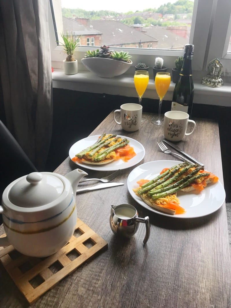 Smoked salmon Asparagus and Scrambled Eggs Brunch Recipe