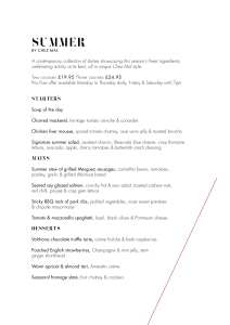 Malmaison Glasgow Summer Menu