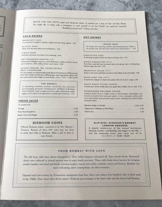 Breakfast menu Dishoom Edinburgh breakfast brunch foodie explorers