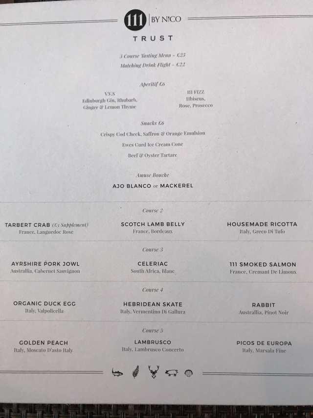 Trust 111 by Nico Glasgow tasting menu