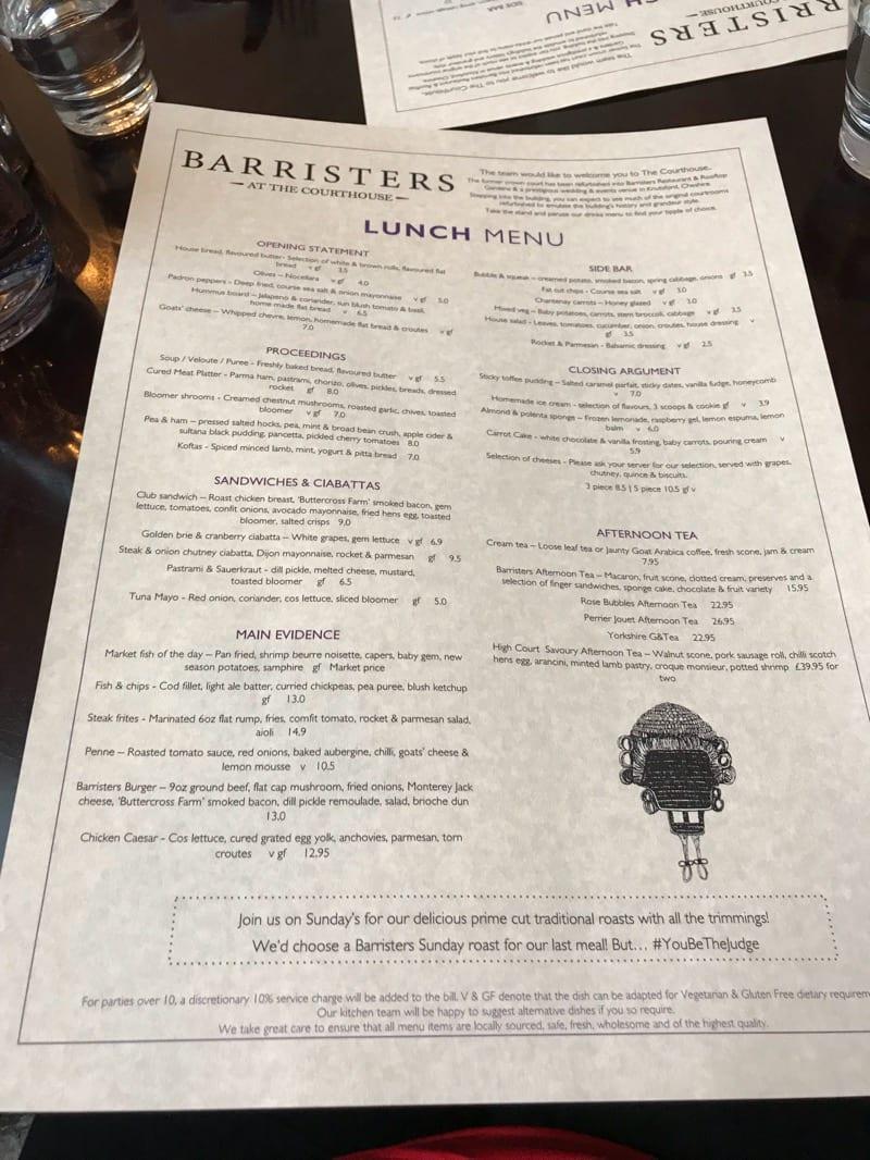 Barristers restaurant bar Knutsford Cheshire