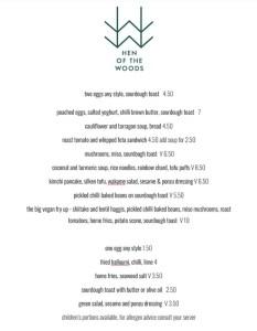 Hen of the Woods glad cafe menu Glasgow brunch lunch