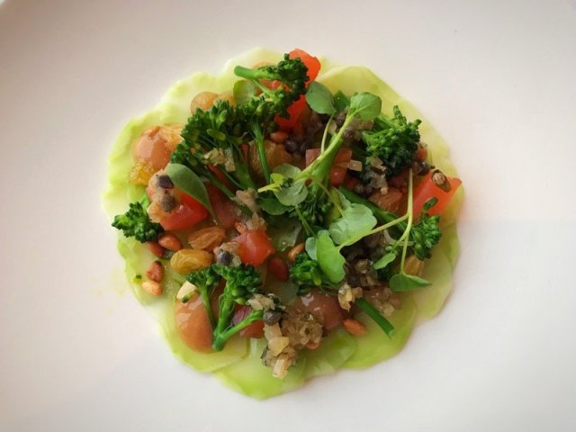 The Headland Hotel - Citrus cured sea trout, sprouting broccoli, pine nuts, sultanas