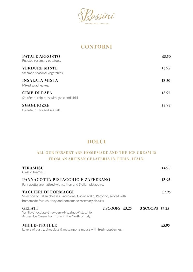 menu rossini patick west end glasgow italian