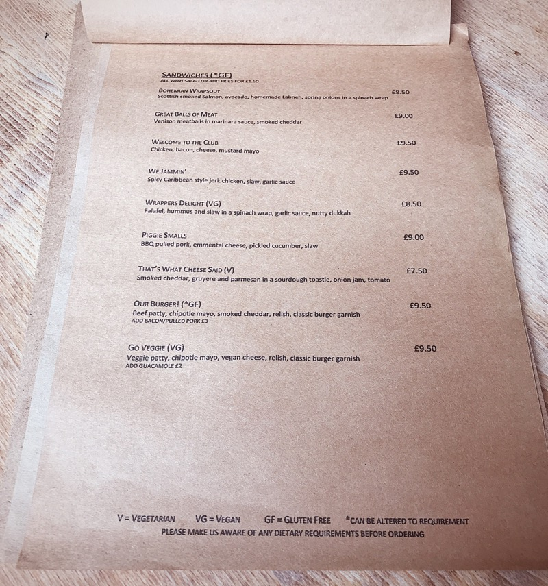 Villager bar Edinburgh food menu