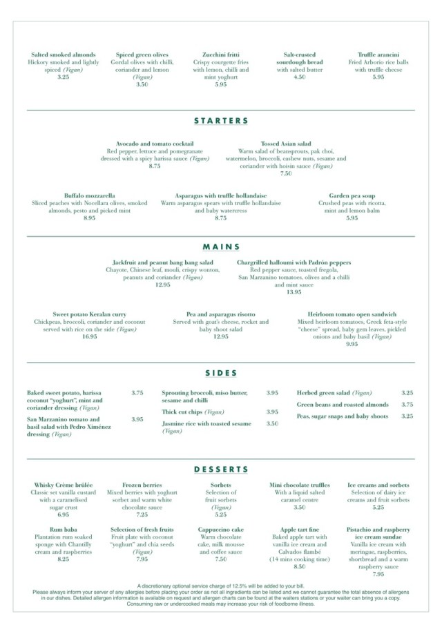 The Ivy glasgow Vegetarian Vegan menu