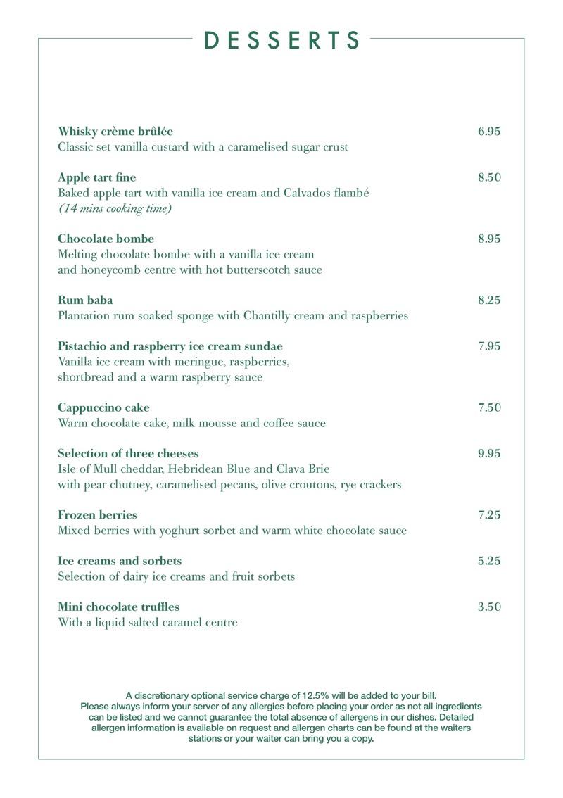 The Ivy glasgow Dessert menu