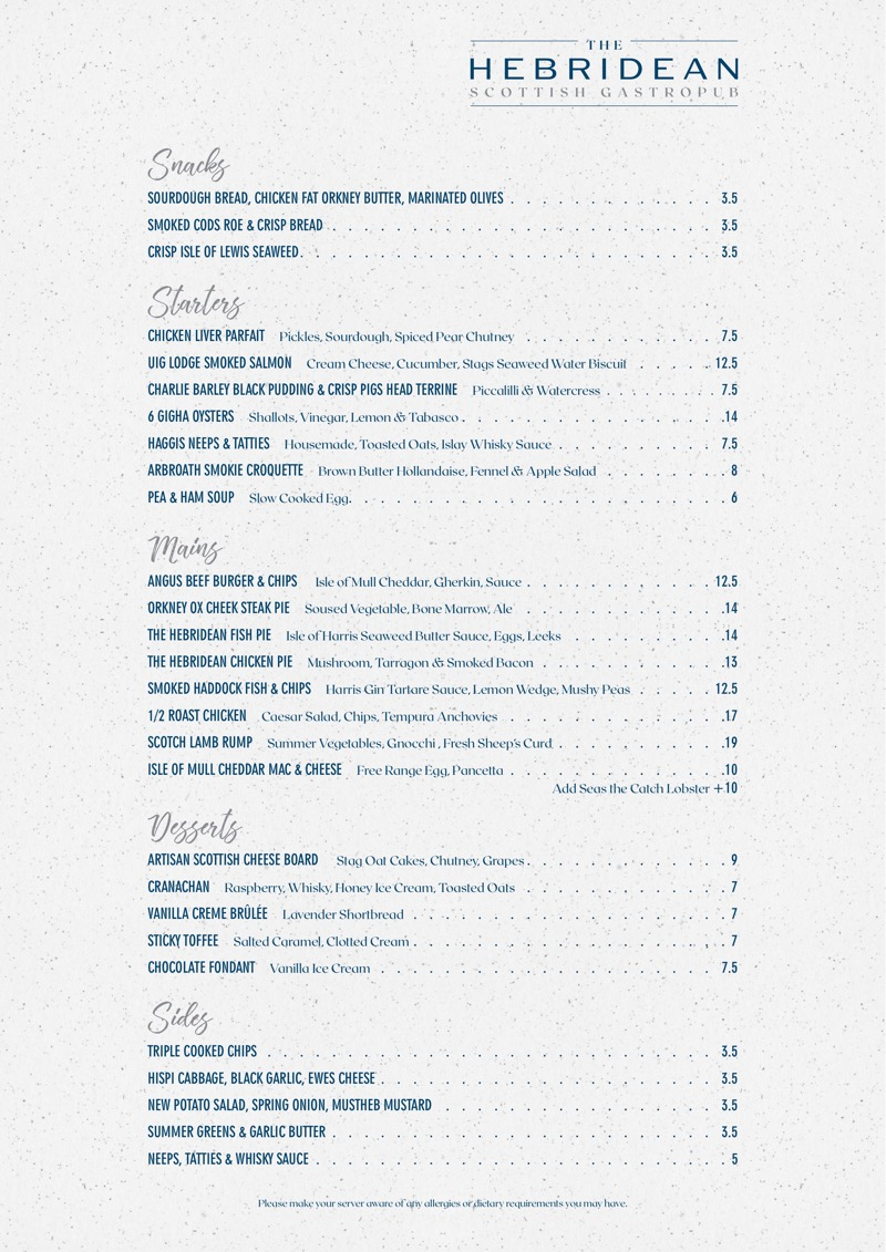 The Hebridean great western road Glasgow menu