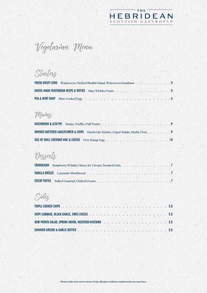 The Hebridean great western road Glasgow Vegetarian menu