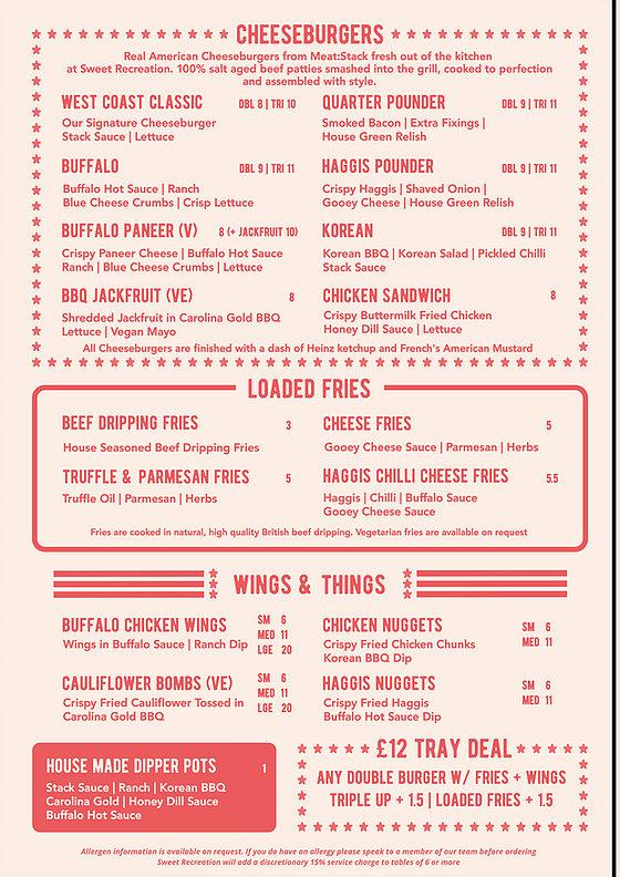 Meat stack GLasgow menu