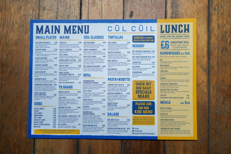 Food menu at Cùl Cùil