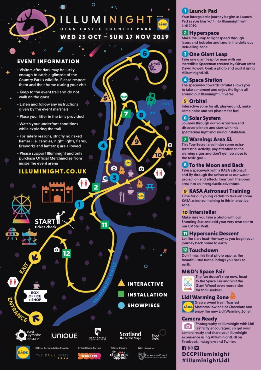 2019 illuminight with lidl dean castle kilmarnock map