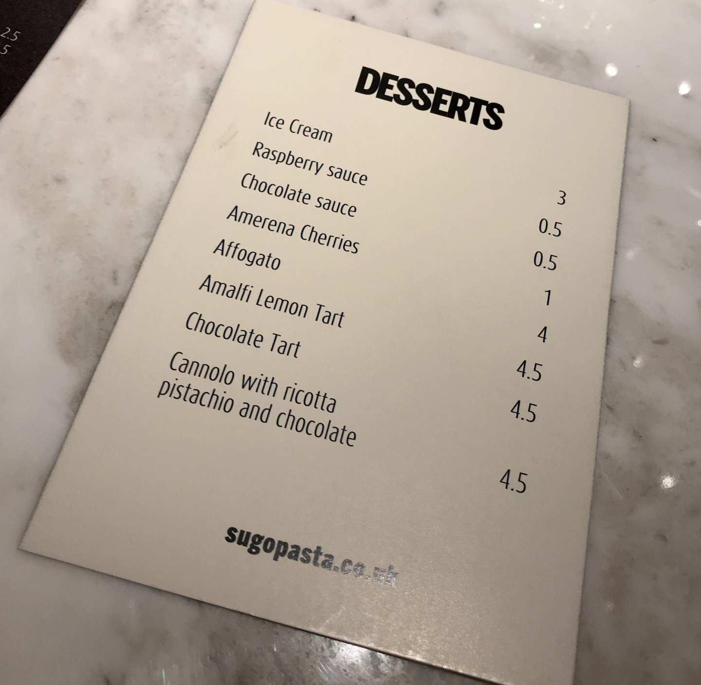 Dessert menu sugo Glasgow