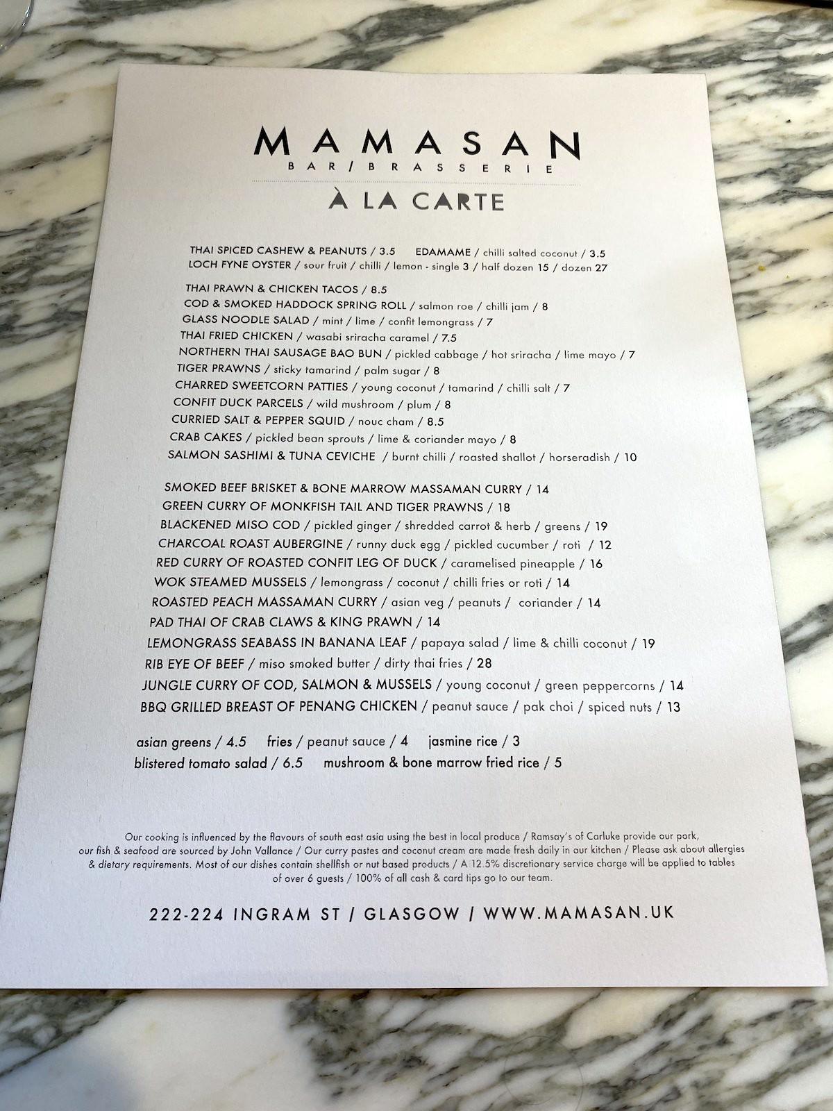 mamasan glasgow menu