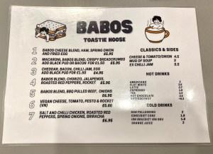 babos toastie hoose menu