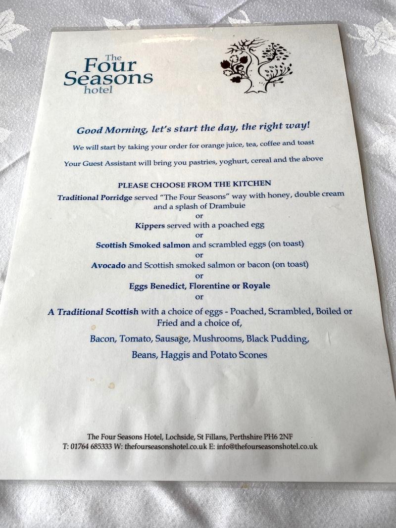 The Four Seasons breakfast menu