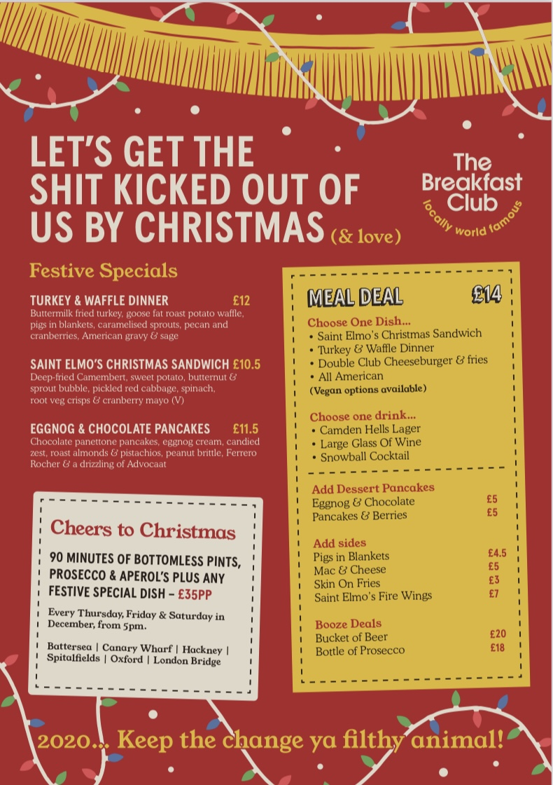 the breakfast club london menu christmas