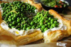 Spring pea, thyme & lemon ricotta tart