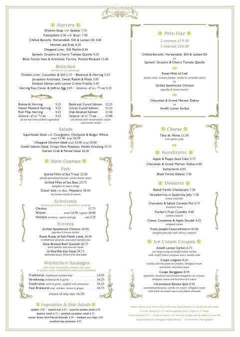 Fischer's lunch dinner menu