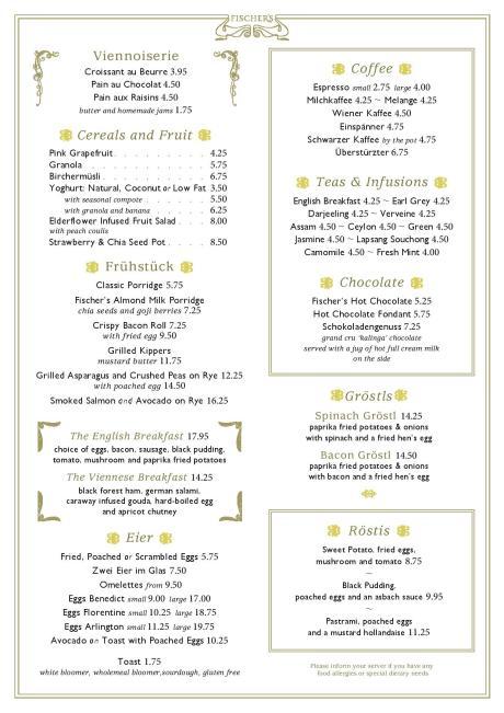 Fischer's breakfast menu Marylebone