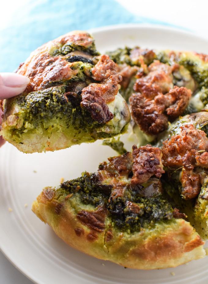 Mini skillet pizza with Kale Pesto Slice