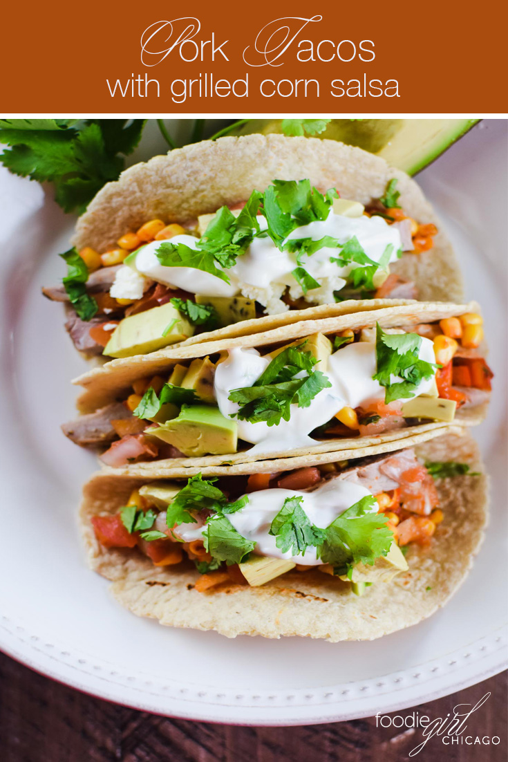 these tasty pork tacos start with an apricot glazed grilled pork then get topped with avocado corn salsa and cilantro lime sauce for a yummy twist!