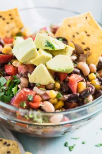 Healthy Cowboy Caviar topped with Avocados