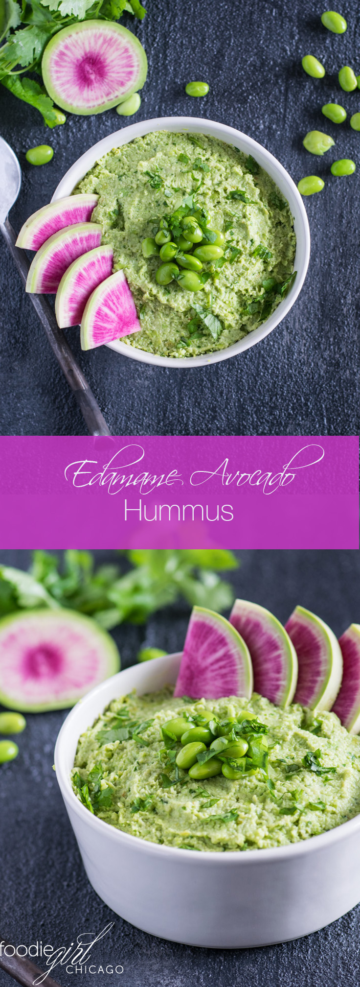 Edamame and avocado combine for a creamy hummus that's perfect for cocktail parties and backyard BBQs!