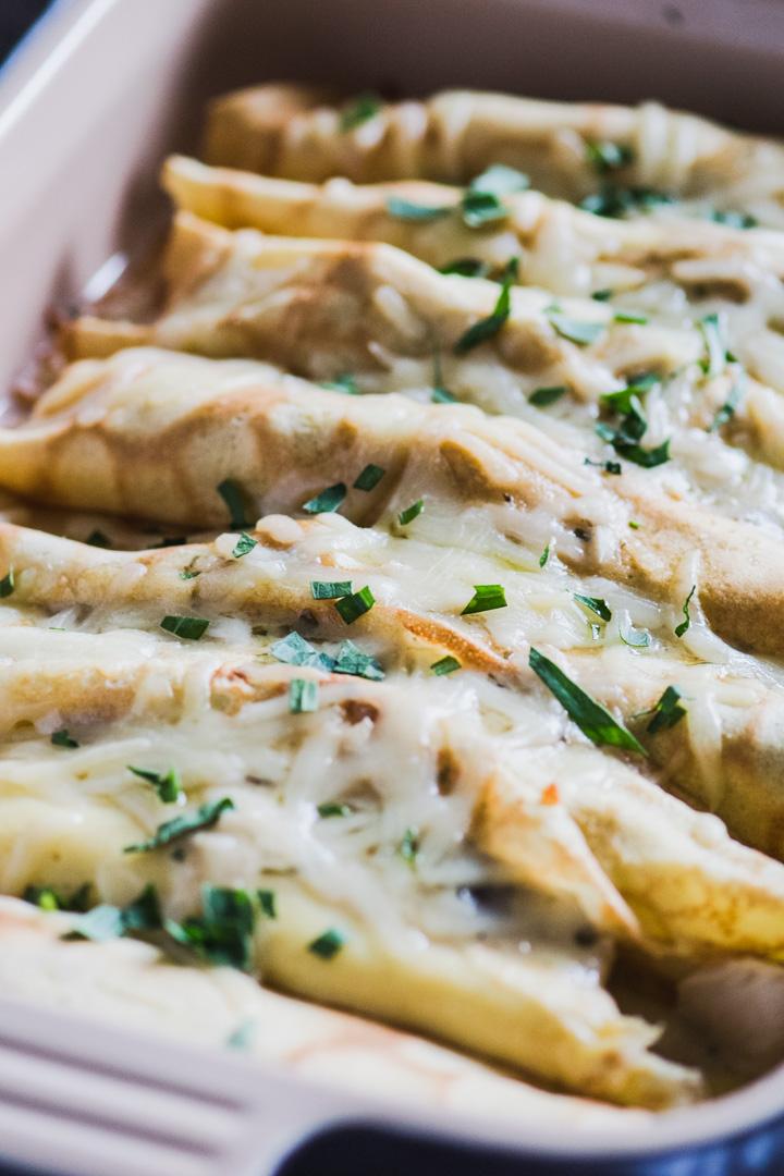 Chicken & Mushroom Crepes