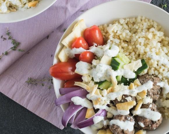 Greek Lamb Meatball Gyro Bowls