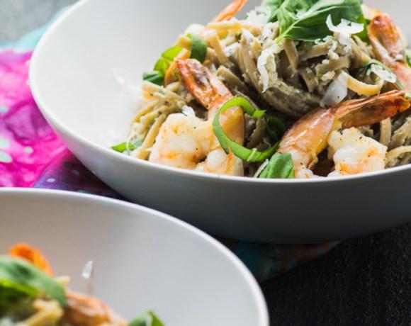 Lemon Artichoke Pesto with Shrimp Linguine