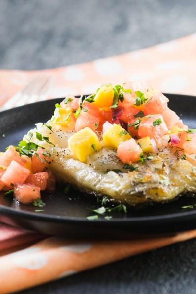 Grilled Sea Bass with Watermelon Mango Salsa