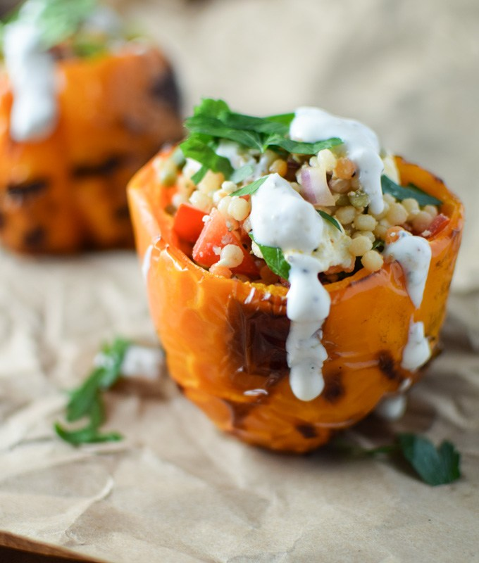 Stuffed Grilled Peppers Drizzled with Yogurt Sauce