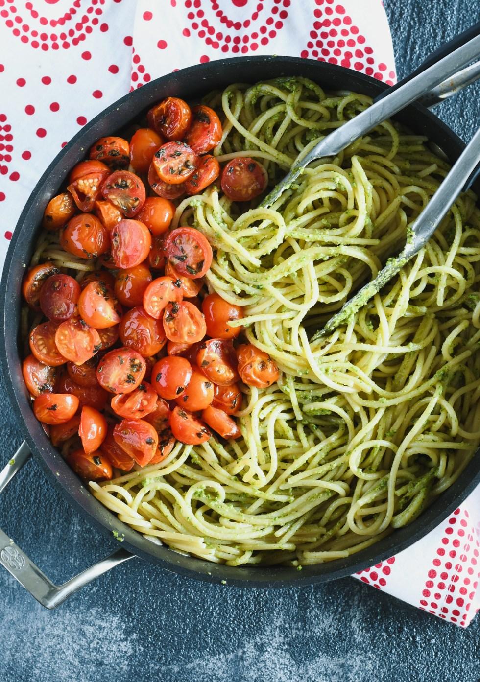 Prepping roasted tomato summer spaghetti