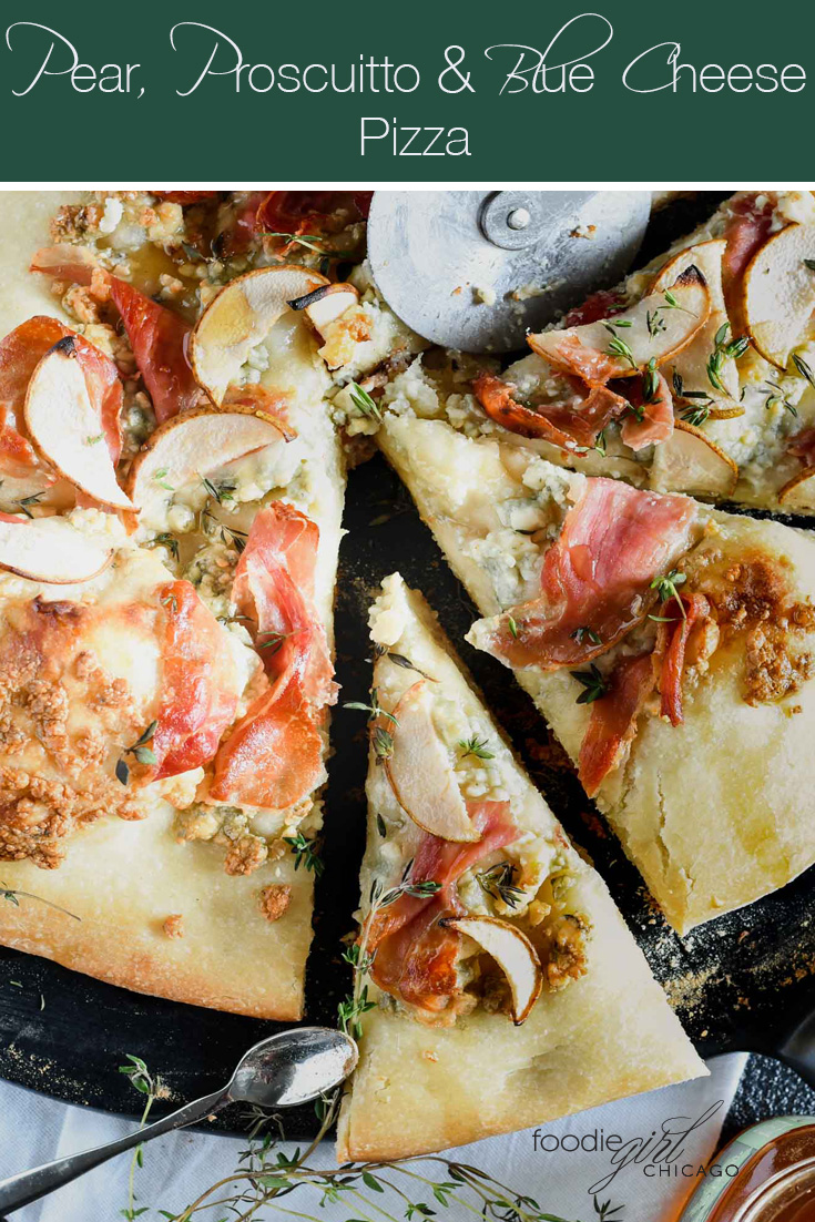 Want brick oven like pizza at home? Cook this pizza on the grill for a perfect crisp crust! Topped with pear, prosciutto & blue cheese it's a great alternative on your regular pizza night!