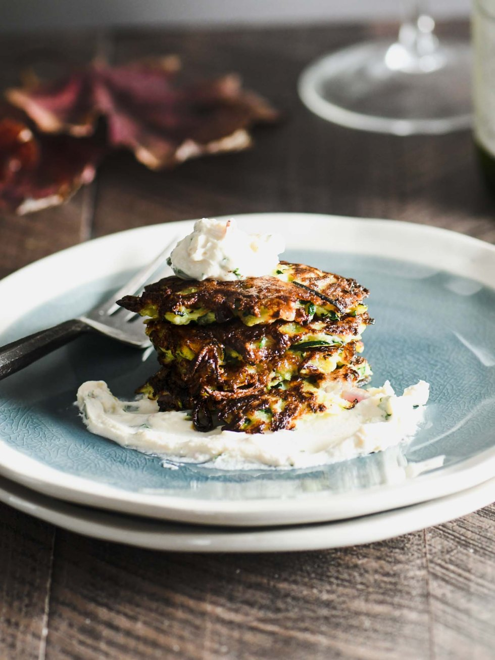 These crispy zucchini fritters topped with a goat cheese mousse are a great way to take your side dish to the next level.