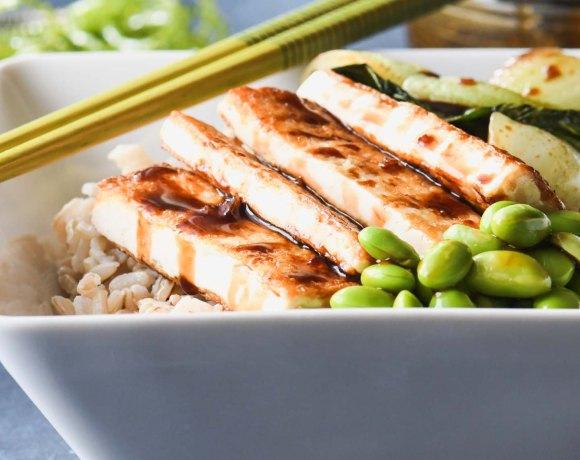Crispy Teriyaki Tofu Rice Bowl