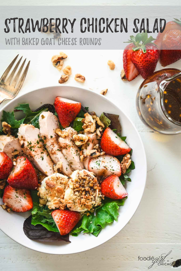 The balsamic vinaigrette does double duty as dressing and marinade in this salad topped with strawberries, grilled chicken and goat cheese that just screams summer in a bowl!