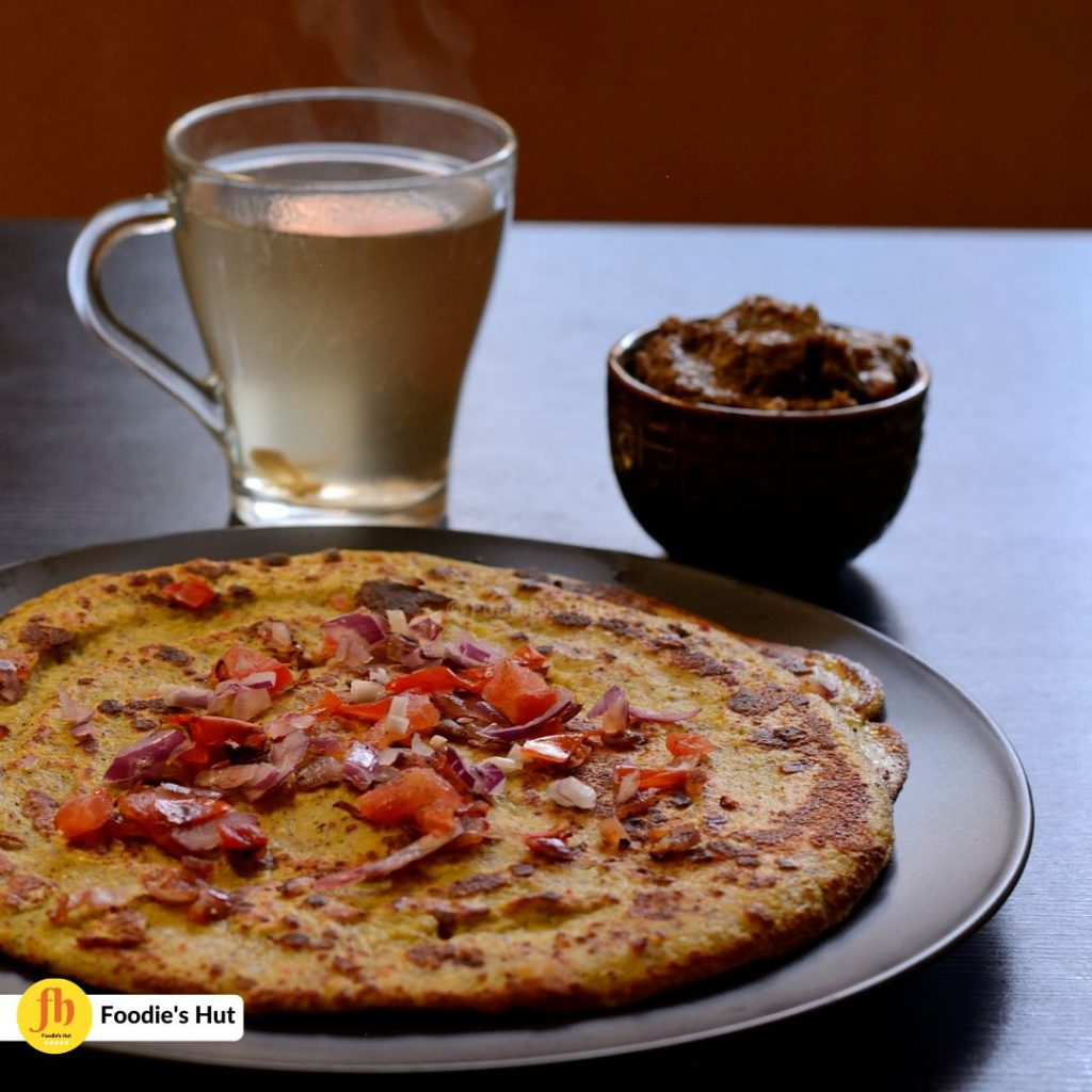 Moong dal quinoa Chila with green tea Egg plant dip