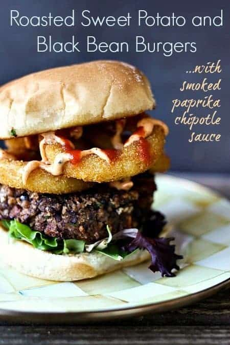 Roasted Sweet Potato Black Bean Burger with Smoked Paprika Sauce {Foodie with Family}