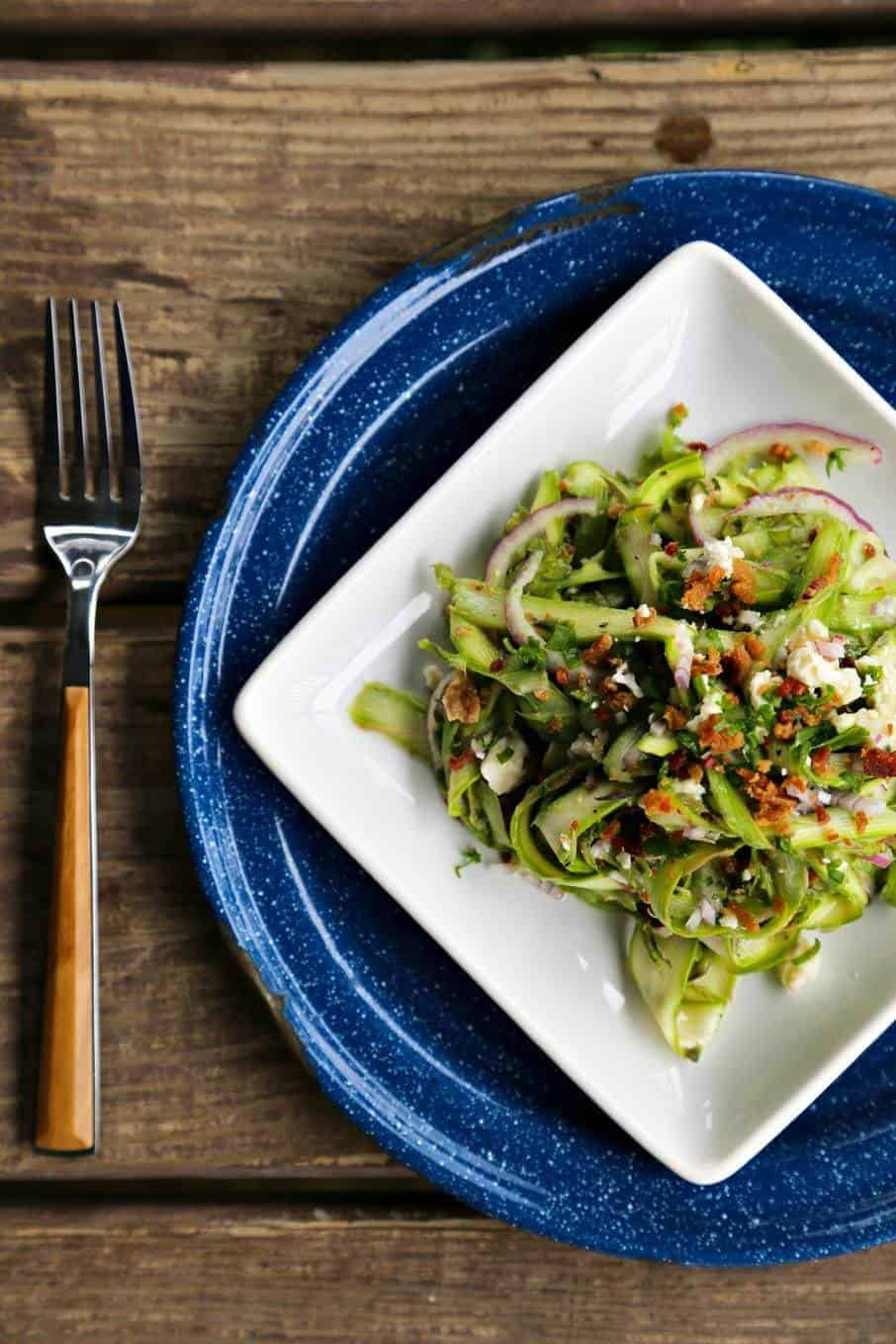 Shaved Asparagus and Bacon Salad {Foodie with Family}